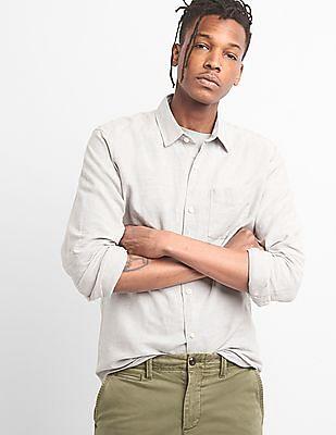 GAP Men Grey Standard Fit Shirt In Linen-Cotton