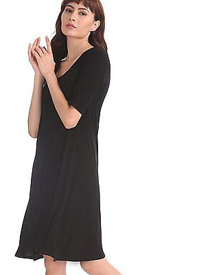 GAP Black Short Sleeve Rib Swing Dress