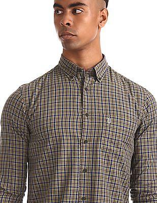 U.S. Polo Assn. Brown Round Cuff Check Shirt