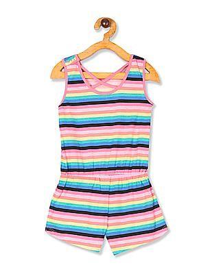 The Children's Place Toddler Girl Sleeveless Rainbow Striped Romper