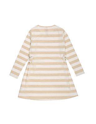 U.S. Polo Assn. Kids Girls Metallic Stripe Fit And Flare Dress
