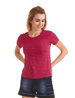 Flying Machine Women Striped Round Neck T-Shirt