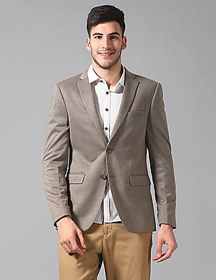 True Blue Slim Fit Patterned Weave Blazer