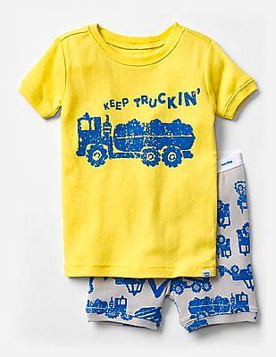 GAP Baby Yellow Keep Truckin' Short Sleep Set
