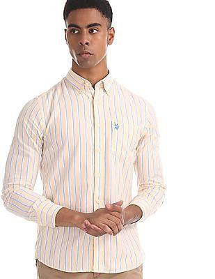 U.S. Polo Assn. Yellow Tailored Regular Fit Striped Shirt