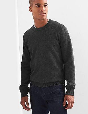 GAP Men Grey Merino Wool Blend Crewneck Sweater