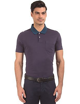 Arrow Contrast Collar Solid Polo Shirt