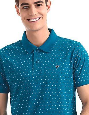 Ruggers Blue Regular Fit Floral Print Polo Shirt