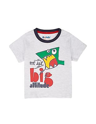 Donuts Boys Melange Printed T-Shirt