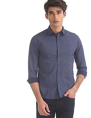 Flying Machine Blue Allover Print Cotton Shirt