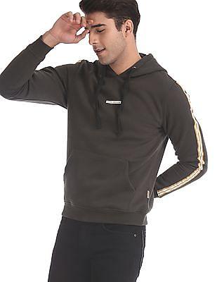 Flying Machine Grey Drawstring Hood Solid Sweatshirt