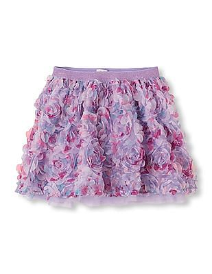 The Children's Place Girls Floral Trim Flared Skirt