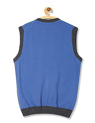 U.S. Polo Assn. Contrast Trim Sleeveless Cardigan
