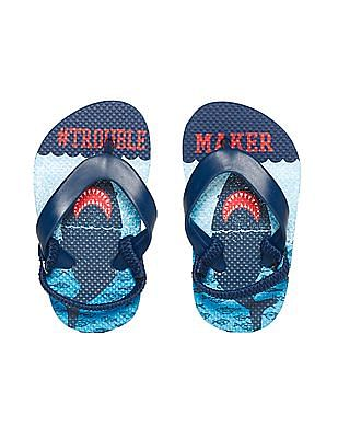 The Children's Place Blue Toddler Boy 'Trouble Maker' Shark Flip Flops