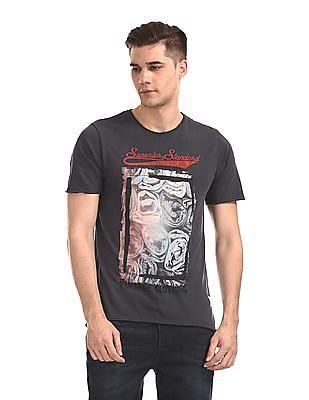 Cherokee Grey Round Neck Printed T-Shirt