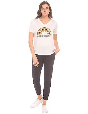SUGR Printed Front V-Neck T-Shirt