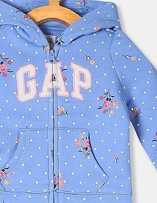 GAP Baby Blue Allover Print Hooded Sweatshirt
