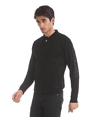 Flying Machine Black High Neck Zip Up Sweatshirt