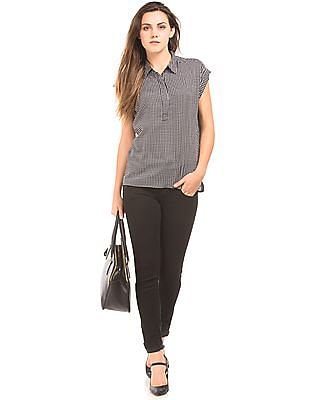 Cherokee Checkerboard Print Popover Top