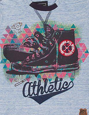 Cherokee Boys Printed Front Heathered T-Shirt