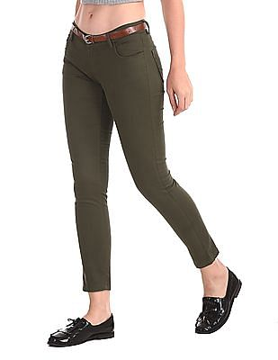 Cherokee Green Belted Cotton Stretch Trousers
