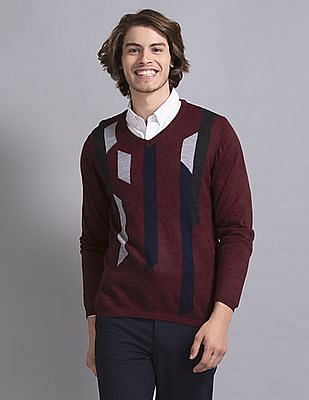 True Blue Red Slim Fit V-Neck Sweater