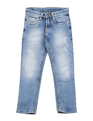 FM Boys Boys Skinny Fit Lightly Distressed Jeans