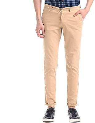 Roots by Ruggers Beige Flat Front Solid Trousers