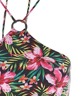 Aeropostale Tropical Print Halter Neck Swim Bra
