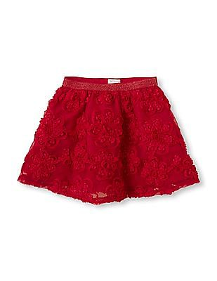 The Children's Place Baby Floral Trim Flared Skirt
