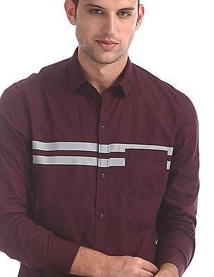Colt Purple Stripe Chest Cotton Shirt