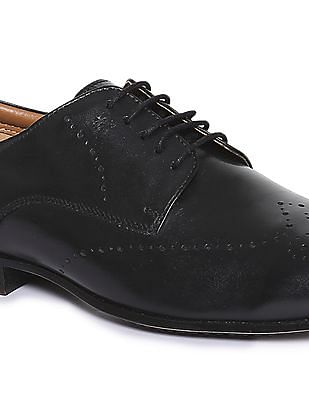Arrow Round Toe Leather Derby Shoes