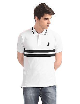 U.S. Polo Assn. White Striped Chest Pique Polo Shirt