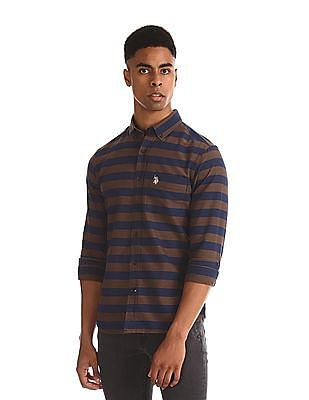U.S. Polo Assn. Brown And Navy Horizontal Stripe Button Down Shirt