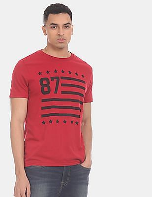 Aeropostale Men Red Front Print Crew Neck T-Shirt