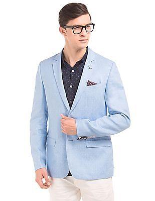 Arrow Patterned Weave Regular Fit Linen Blazer