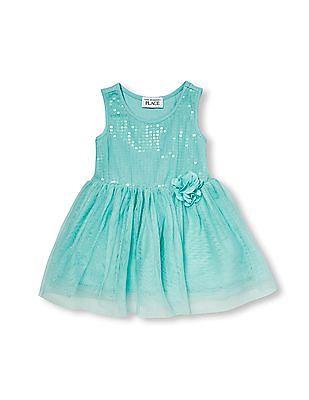 The Children's Place Toddler Girl Sleeveless Sequin And Glitter Flare Dress