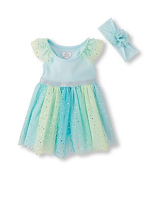 The Children's Place Baby Girls Short Ruffle Sleeve Glitter Mesh Dress, Headwrap And Bloomers Set