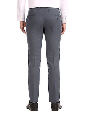 Excalibur Grey Mid Waist Solid Trousers
