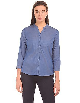 Arrow Woman Notched Collar Patterned Shirt
