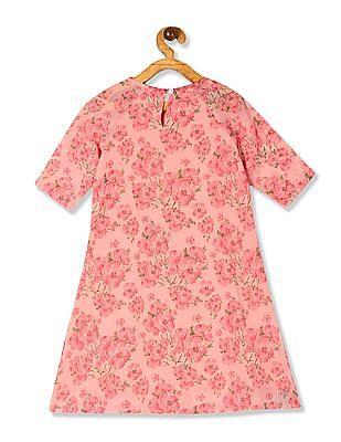 Cherokee Orange Girls Flora Print A-Line Dress
