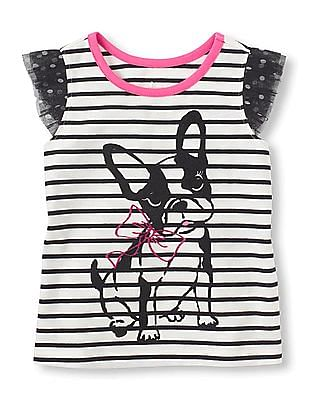 The Children's Place Toddler Girl Ruffled Mesh Striped Top