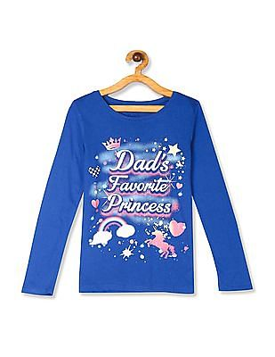 The Children's Place Girls Blue  Glow In The Dark Glitter Cat Graphic Tee