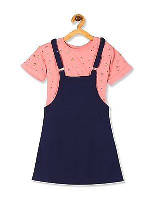 Cherokee Blue And Pink Girls Dungaree Skirt With Printed T-Shirt