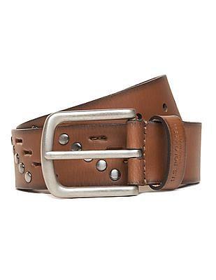 U.S. Polo Assn. Cutout Studded Leather Belt