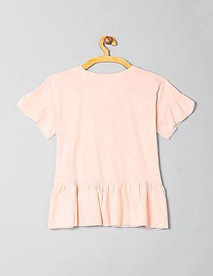 GAP Girls Short Sleeves Peplum Top