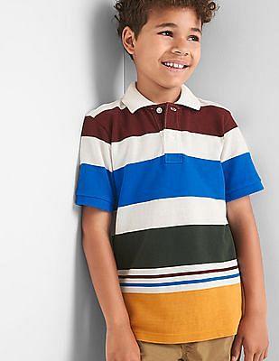 GAP Boys Multi Colour Stripe Pique Polo