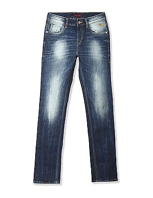 Flying Machine Blue Michael Slim Tapered Fit Mid Waist Jeans