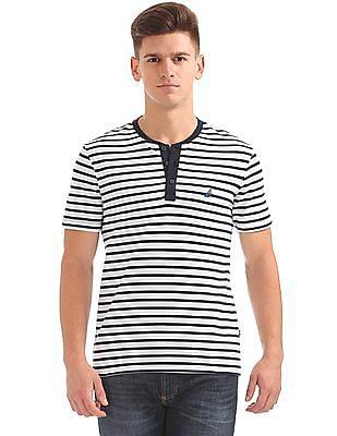 Nautica Short Sleeve Stripe Henley