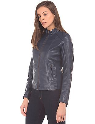 Flying Machine Women Panelled Pleather Jacket